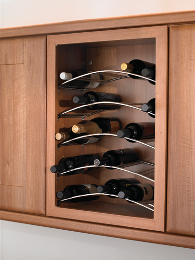 Set of three curved wine racks kitchen unit on worktop for Other uses for wine racks in kitchen
